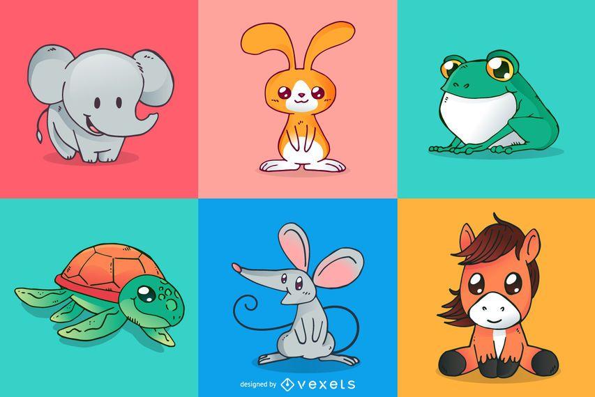 Cute animals cartoons set