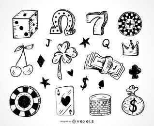 Iconos de juego de casino doodle conjunto