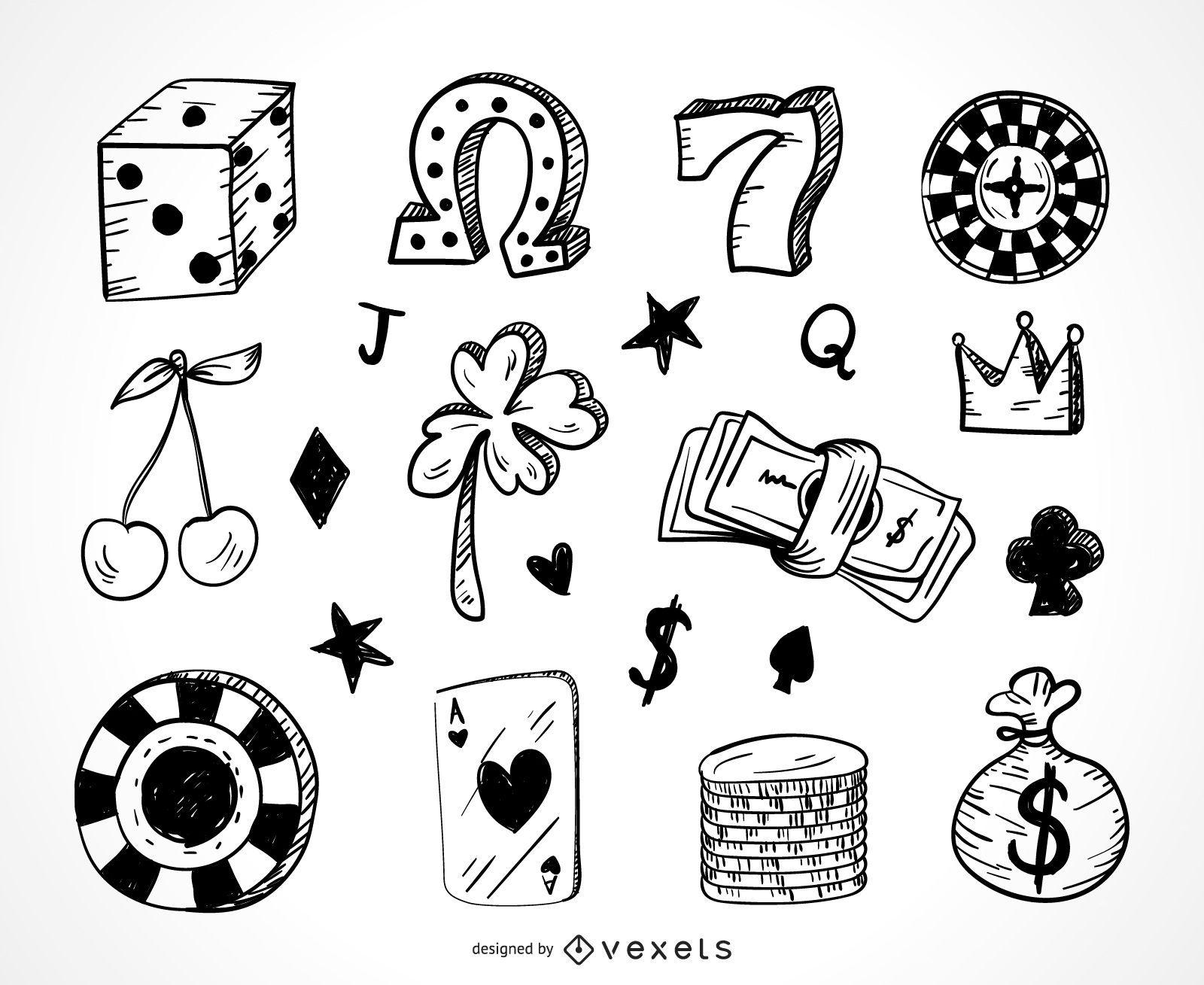 Casino gambling icons doodle set