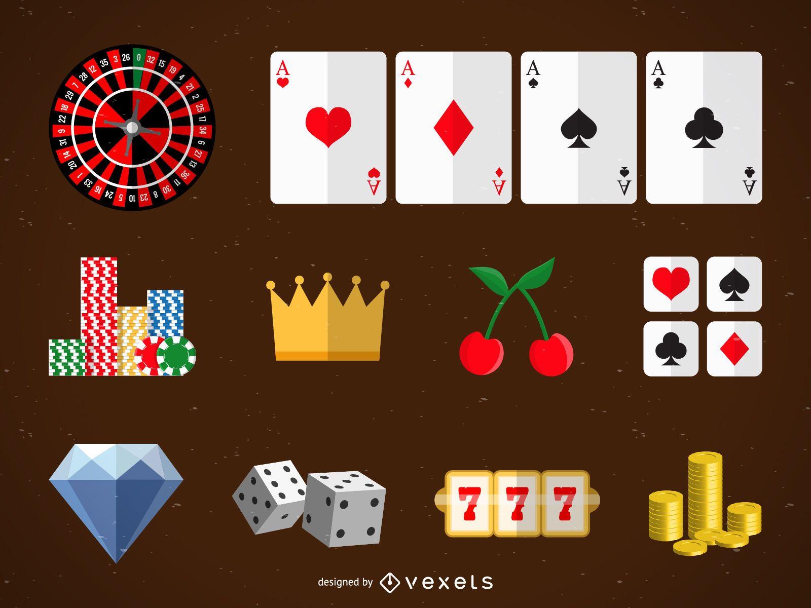 Conjunto de ícones de cassino e jogos de azar