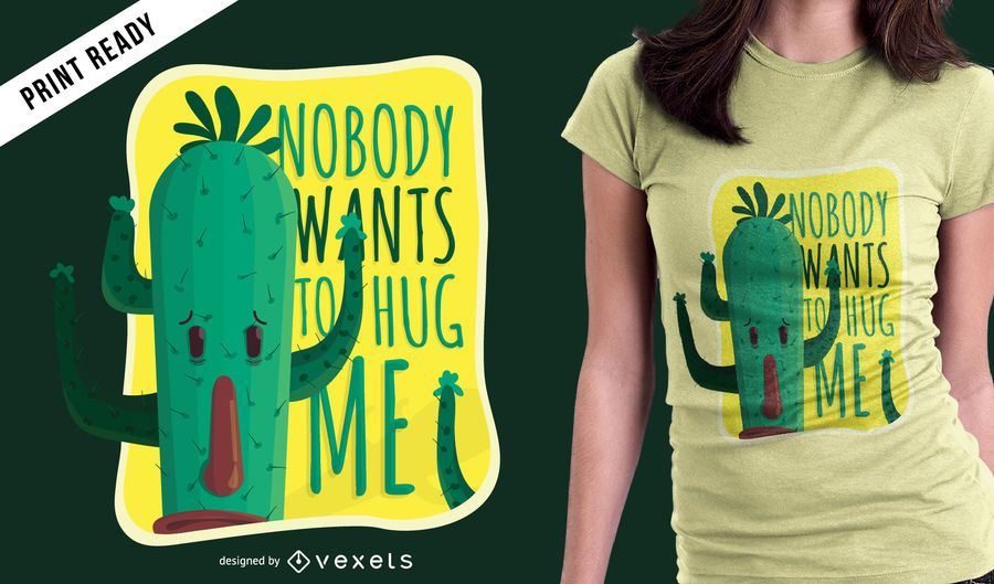 Design engraçado do t-shirt do cacto