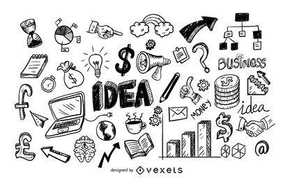 Conjunto de ícones de negócios doodle