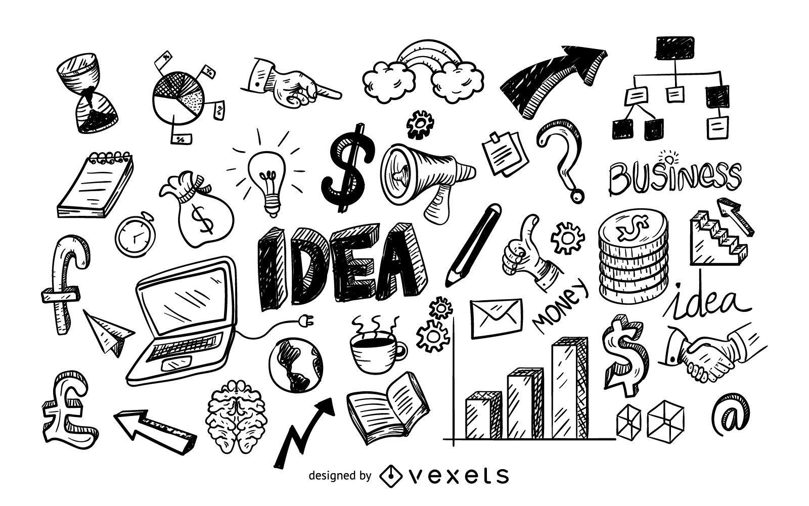 Business icons doodle set