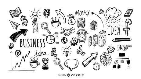 Coleção de ícones de doodle de negócios