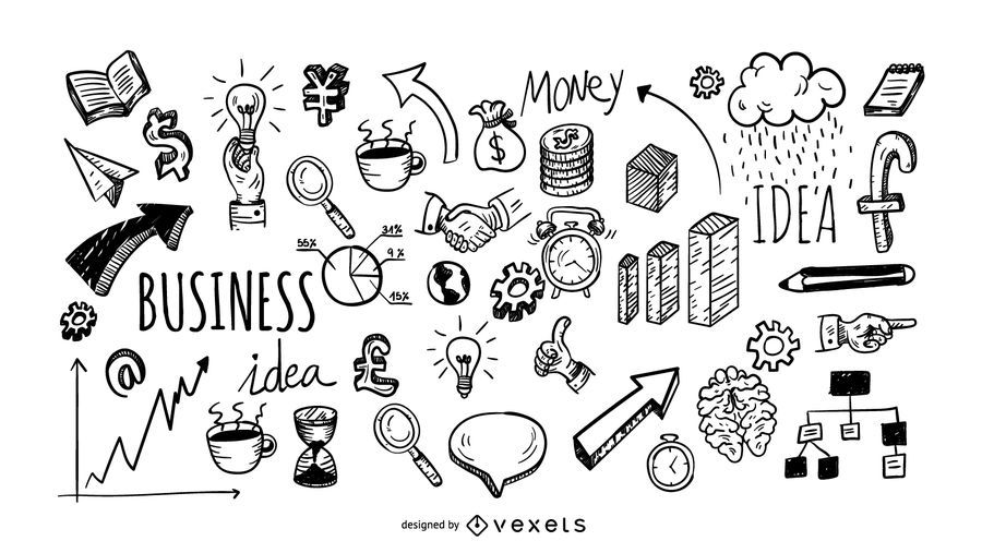Business doodle icons collection