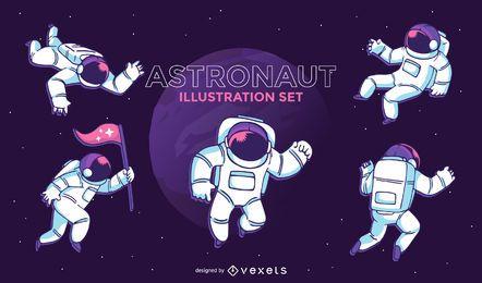 Conjunto de ilustração de astronauta