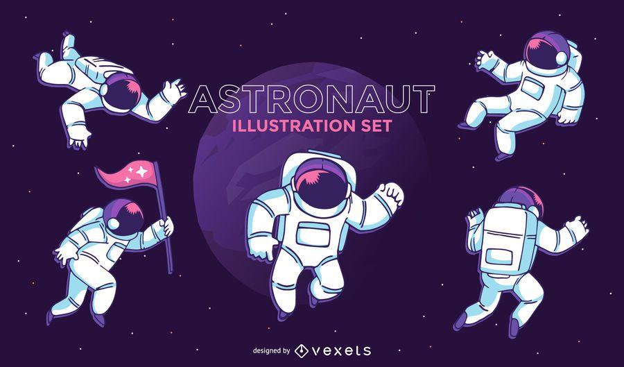 Astronaut illustration set