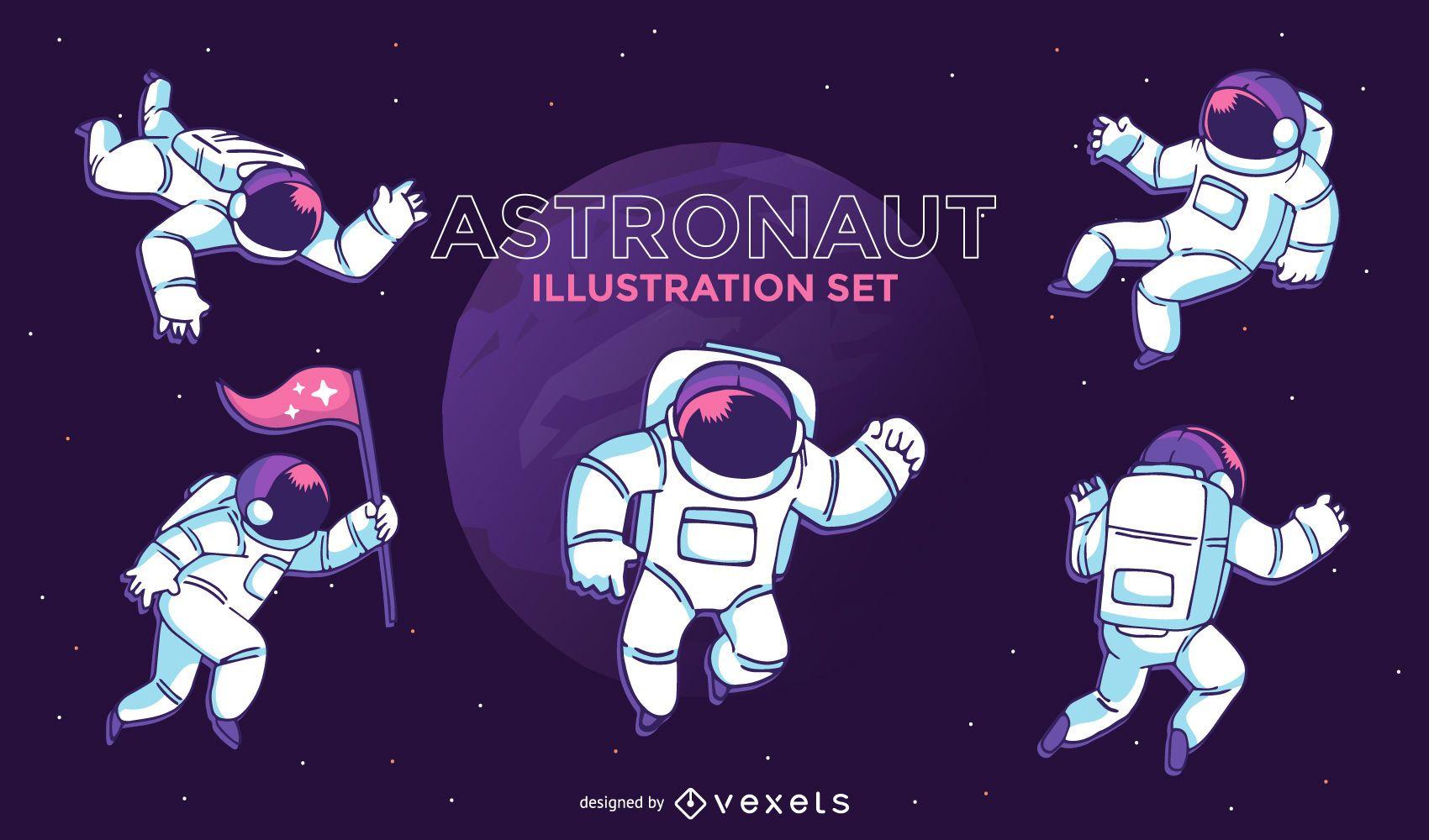 Conjunto de ilustraci?n de astronauta
