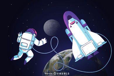 Astronauta en la ilustración del espacio