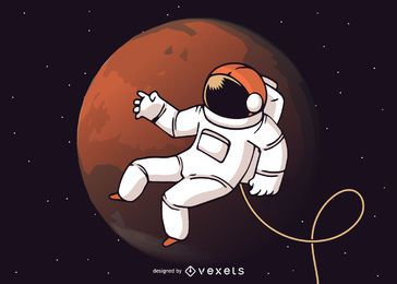 Astronaut space walk illustration