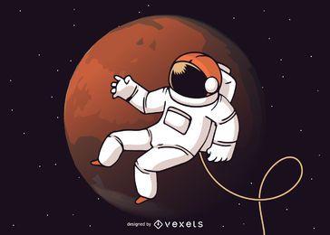Ilustración de paseo espacial de astronauta