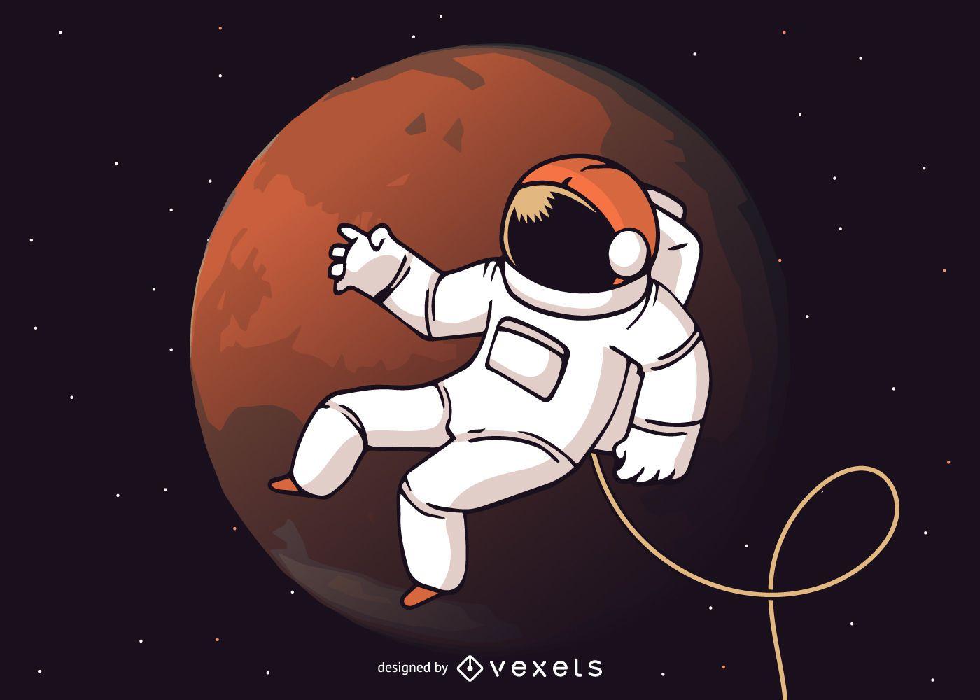 Ilustración de caminata espacial de astronauta