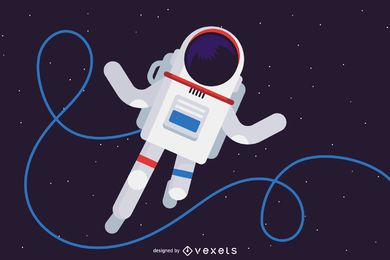Cosmonauta en la ilustración del espacio