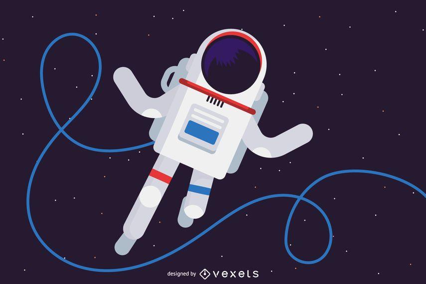 Cosmonauta na ilustração do espaço