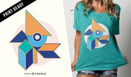Diseño de camiseta geométrico abstracto.