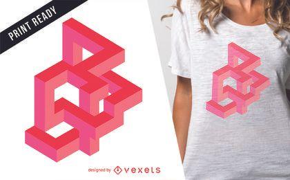 Diseño de camiseta ilusión óptica rosa.