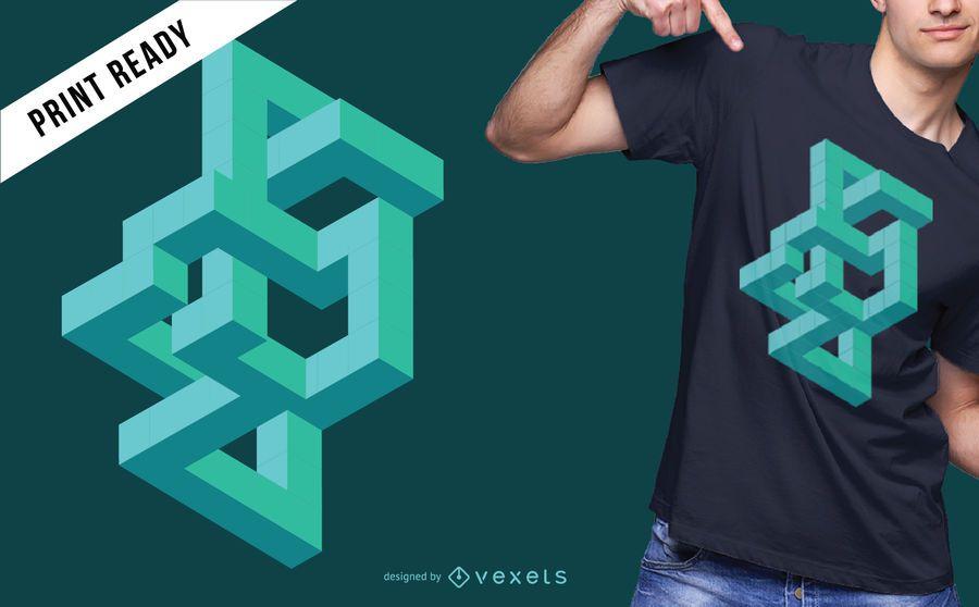 Diseño abstracto de la camiseta de ilusión óptica