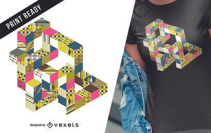 Design colorido abstrato geométrico t-shirt