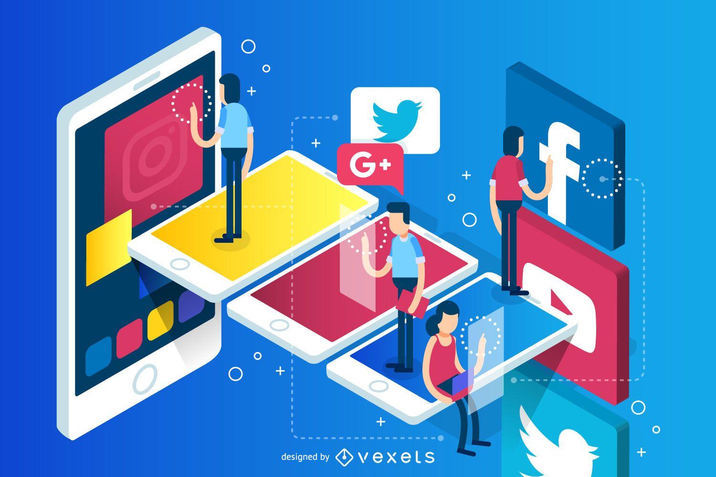 Social team work illustration