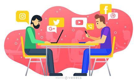 Ilustración de trabajo de redes sociales