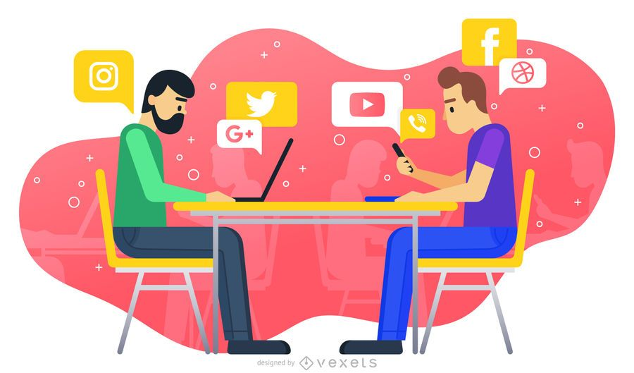 Social media work illustration