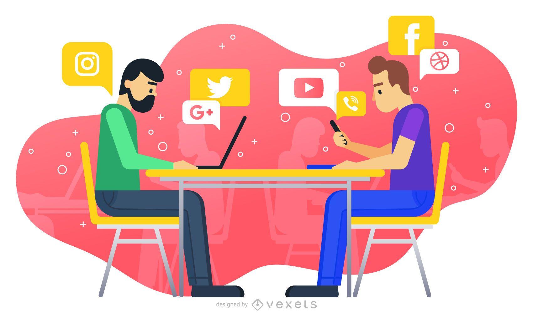 Ilustración de trabajo en redes sociales
