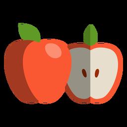 Icono de manzana cortada a la mitad