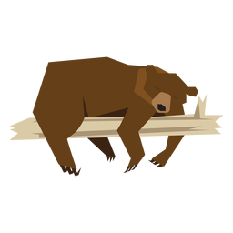 Oso acostado en la ilustración de la rama