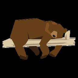 Oso acostado en la ilustración de rama