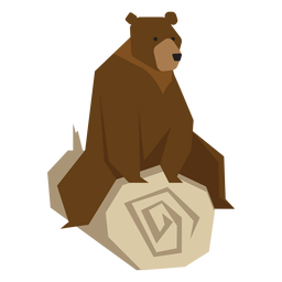 Bear sitting on log illustration