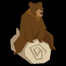 Urso sentado na ilustração de log