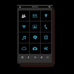 Interface do menu de aplicativos azul