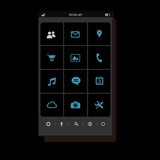Blue application menu interface Transparent PNG
