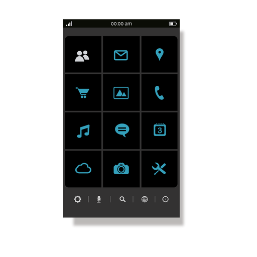 Blue application menu interface