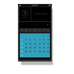 Blue calendar mobile interface