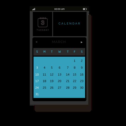 Blue calendar mobile interface Transparent PNG
