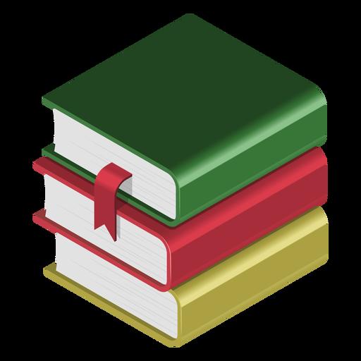 Books pile 3d icon