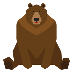 Brown bear sitting illustration