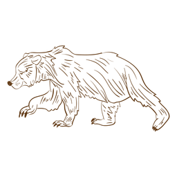 Brown bear walking stroke cartoon