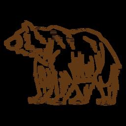 Dibujos animados de trazo de oso pardo gris