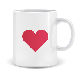 Coffee mug with heart icon