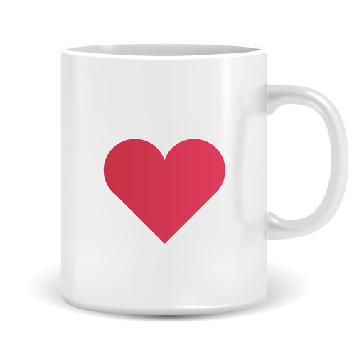 Coffee mug with heart icon Transparent PNG