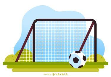 Futebol, crianças, pátio recreio, ilustração