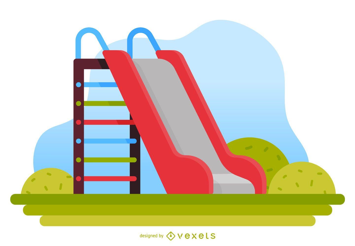 Kids slide playground illustration