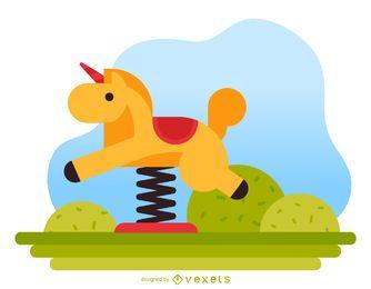 Ilustração de parque infantil de cavaleiro de primavera de cavalo