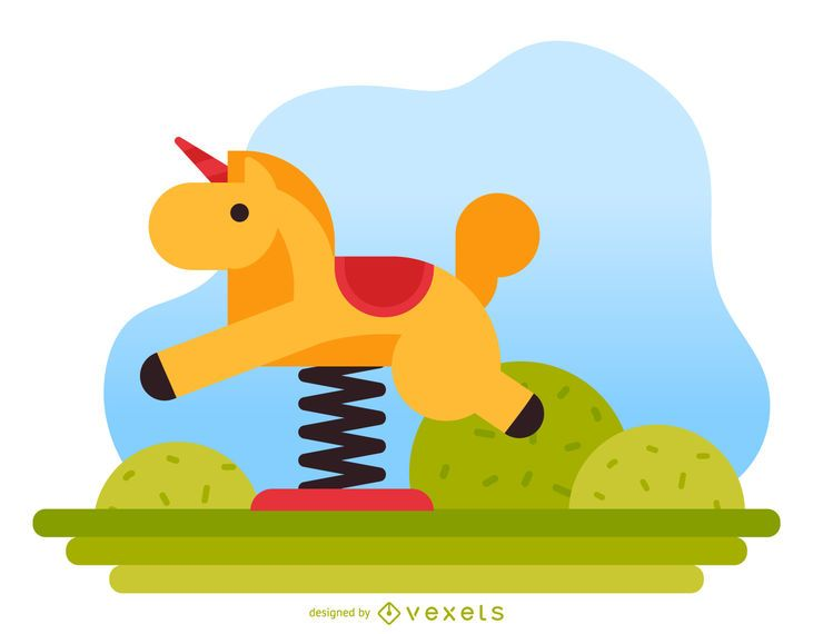Horse spring rider playground illustration