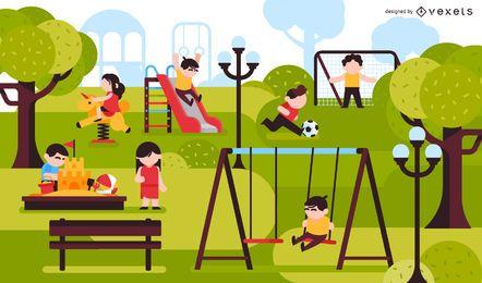 Crianças, parque, pátio recreio, ilustração