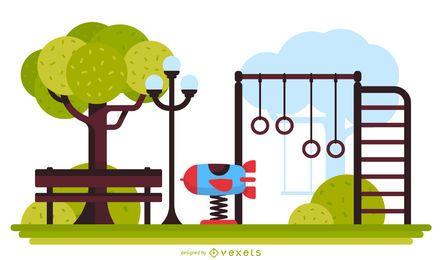 Ilustración de parque infantil