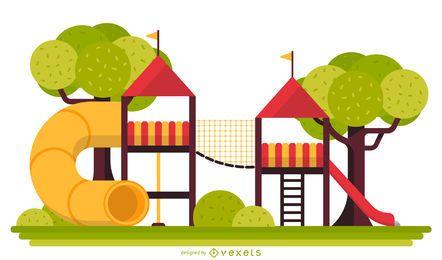 Kletternde Rahmenillustration des Spielplatzes