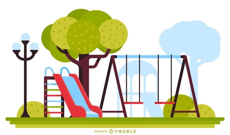Slide and swing playground illustration